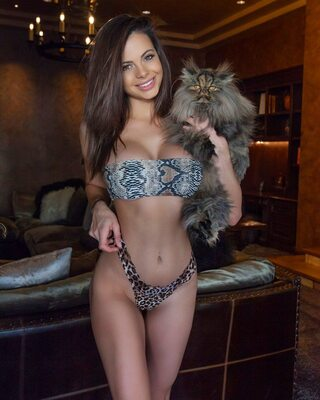 Bild markiert mit: Brunette, Busty, Katie Bell, Bikini, Boobs, Cat, Smiling